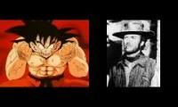 Chargin' up! with Goku in a spaghetti westerm