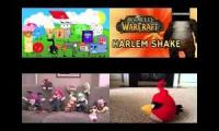 Object Mayhem vs Warcraft vs Super Mario vs Angry Birds Harlem Shake Quadparison