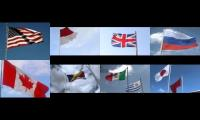 The world country flags waving