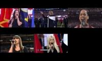 The last 5 Super Bowl National Anthems at once