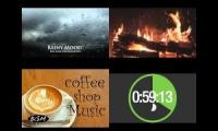 Hour & A Half timer: Rainy Mood + Bossa Nova Piano + Fireplace!