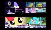 Spongebob,My Little Pony,The Amazing World of Gumball VS Regular Show has a Sparta Super Quadparison