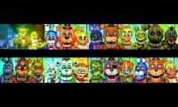 Originals,Toys,Withereds,Phantoms,Nightmares,Funtimes,Salvages and Rockstars sing the FNAF 1 Song