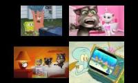 Spongebob My Talking Tom Sparta Quadparison